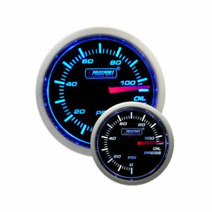 Prosport 52mm Universal Oil Pressure Gauge With Sender Blue White