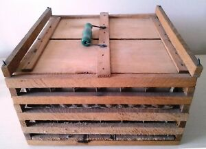 Vintage Antique Wood Farm Egg Carrier With Cardboard Dividers And Green Handle