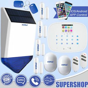 Kit Outdoor Solar Siren Wireless G19 Gsm Rfid Touch Pad Home House Alarm System