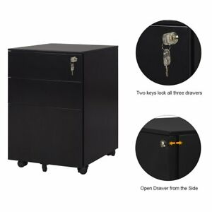 Orford 3 drawer Metal File Cabinet Home Office Furniture Rolling Lockable Black