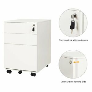 Orford 3 drawer Metal File Cabinet Home Office Storage Furniture Lockable White