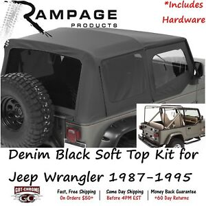68215 Rampage Complete Soft Top With Hardware Kit Black Jeep Wrangler 1987 1995