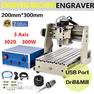 Usb 3 Axis 300w 3020t Engraver Engraving Router Drill Milling Machine 3d Cutter