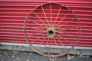 Large Antique Wagon Tractor Wheel Metal 18 Spoke 43 Tall 2 Country Americana