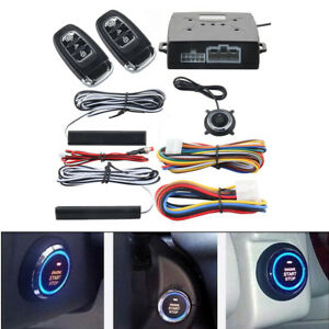 Pke Car Alarm System Passive Keyless Entry Push Button Remote Engine Start stop
