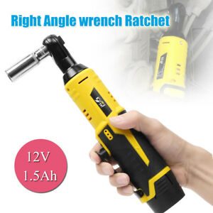 12v Cordless Right Angle Wrench Ratchet Kit 3 8 35nm With Led Li ion Battery