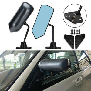 Universal F1 Style Carbon Fiber Look Car Racing Side Rear View Mirror Blue Glass