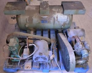 1979 Buckeye Boiler 30 Gallon Horizontal Compressed Air Tank W 2 Compressors