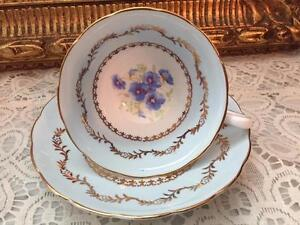Stunning Westbrook Cup Saucer Set England Blue Pansies Lots Of Gold Trim