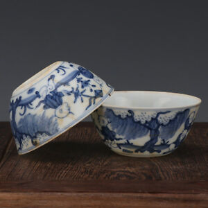 A Pair China Old Antique Porcelain Ming Chenghua Blue White Babies Cup