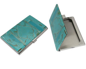 Native American Navajo Turquoise Inlay Business Card Holder