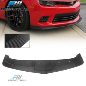 Fits 14 15 Chevy Camaro Ss 1le Style Front Bumper Lip Carbon Fiber Textured Look