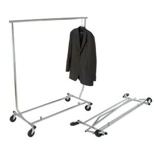 Chrome Collapsible Rolling Garment Rack 48 In X 65 In Home Bedroom Clothes