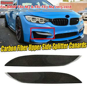 2x For Bmw F80 M3 Front Bumper Cf Carbon Fiber Upper Side Splitter Canards Lip