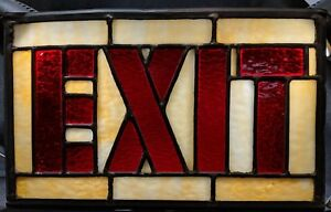 Vtg Stained Leaded Slag Glass Exit Sign No Frame Art Deco Theater 13 X 8 Nice