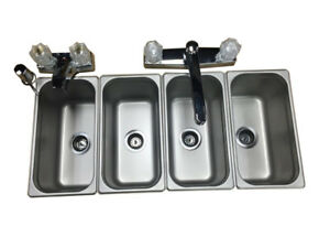 Drop In 4 Small 3 Compartment Sink Portable Concession Food Truck Trailer 17 Pc