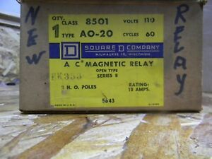New Square D Ac Magnetic Relay Open Type Ao 20 Class 8501 110 Volt 60 Cycles