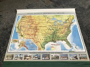 Rand Mcnally Roll Down School Wall Map United States Vintage