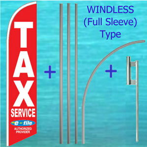 Tax Service Windless Banner Flag Pole Mount Kit Tall Feather Banner Income