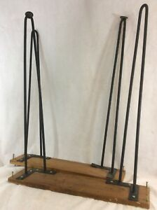 Set 4 Vtg Mid Century Modern Cast Iron Hairpin 29 Legs Table Furniture 2 Rod