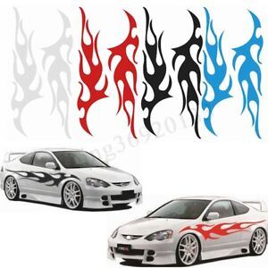 12 X48 Car Racing Body Hood Flame Graphic Decal Flaming Sticker Waterproof