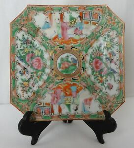 Antique Chinese Porcelain Rose Medallion Octagon Plate 6 5