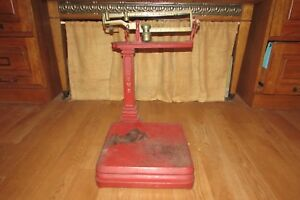 Antique Red Cast Iron Howe 5058 Platform Balance Scale 2378dr