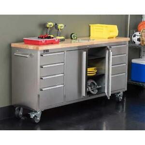 Trinity 72 Stainless Steel Rolling Workbench