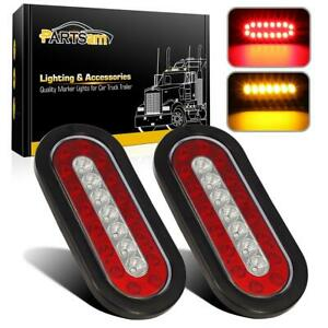 2x 6 Oval Red Amber 23 Led Stop Tail Turn Signal Brake Reflective Lights Sealed