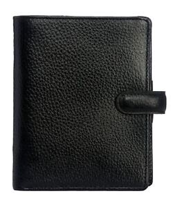Filofax Finsbury Pocket Organiser Black Grained Leather Cover 6 Ring Mechanism