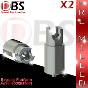 2x Dental Abutment Pre milled Screw With Hex Amann Girrbach Mis Rp