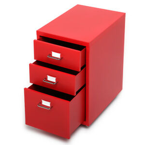 Red 3 drawer Metal Detachable Mobile Filing Cabinet Home Office 4 Casters C0h2