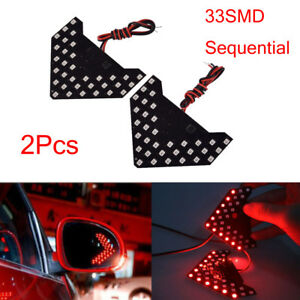 2 Super Red 33 smd Sequential Led Arrows For Car Side Mirror Turn Signal Lights