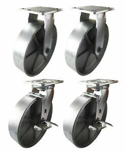 4 Heavy Duty Caster Set 8 All Steel Wheels Rigid Swivel And Brake