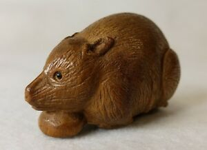 Vintage Antique Japanese Wood Netsuke Hand Carved Cute Rat