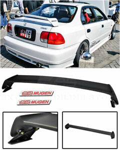 For 96 00 Honda Civic 4dr Mugen Style Rear Wing Spoiler Lip W 2 Pcs Red Emblems