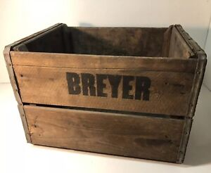 Vintage Antique Breyer Wood Crate Old Wooden Shipping Box Heavy Built