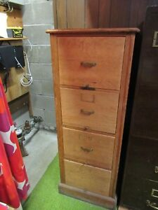Vintage Solid Oak 4 drawer File Cabinet