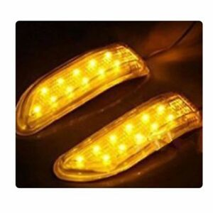 2pcs Amber Yellow Tail Side Mirror Turn Signal Led Car Indicator Light Lamp