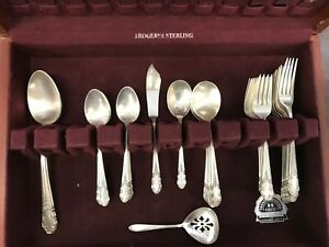 Rogers Sterling Silver Flatware Set 1950 Bridal Veil 49 Pcs Service For 8