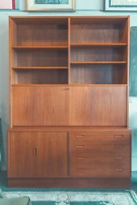 Authentic Mid Century Modern Danish Teak Cabinet Hundevad Bookcase Desk Bar