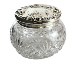 Foster And Bailey Sterling Silver Cut Glass Vanity Jar Circa 1900