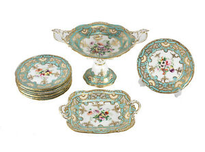 19th Century English Hand Painted Porcelain 11 Piece Dessert Service For Nine