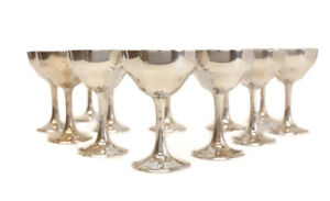 12 S Kirk Son Sterling Silver Sherry Red Wine Goblets 165c