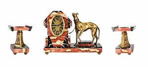 Art Deco Marble And French Bronze Clock Garniture With Greyhound Circa 1920