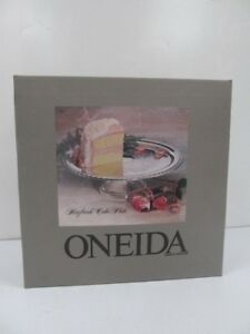 Silver Plated Cake Plate Stand Server Set 89 2810 New Oneida 1987 Maybrook