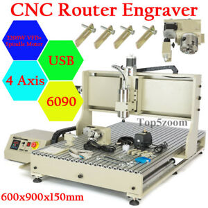 Usb 4 Axis Cnc 6090 Router Wood Carving Milling Machine 2 2kw Vfd Spindle Motor