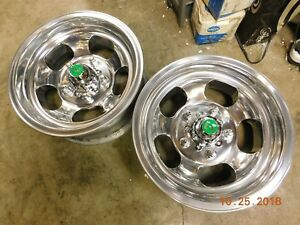 Polished Pair 13 X 5 1 2 Slot Mag Wheels 5 On 4 3 4 Corvair Nova Buick Olds Gm
