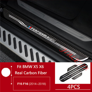 For Bmw X5 F15 X6 F16 2014 2018 Carbon Fiber Outside Door Sill Guards Plate Trim