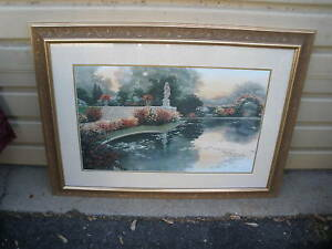 Col Yw Large Vintage Garden Print In Gold Frame